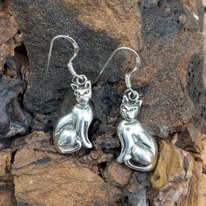 Sterling Regal Cat Earrings