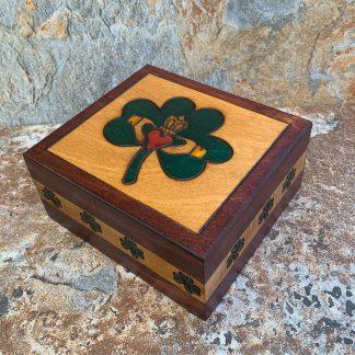 Claddagh Box with Shamrocks