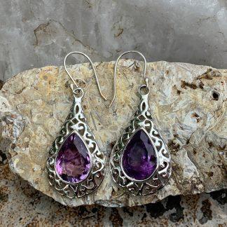 Amethyst & Sterling Filigree Earrings
