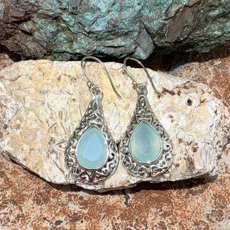 Aqua Chalcedony & Sterling Earrings