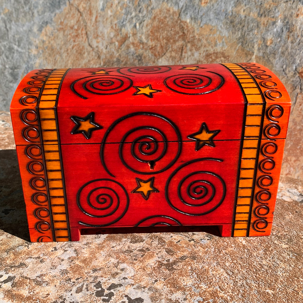 Red Spiral Trunk with Key
