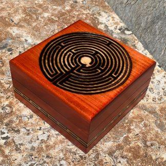 Carved Labyrinth Wood Box