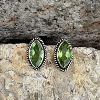 Peridot and Sterling Silver Oval Earrings