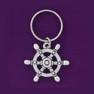 Pewter Keychain Captain's Wheel