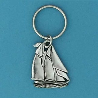 Pewter Keychain Ocean Sailboat