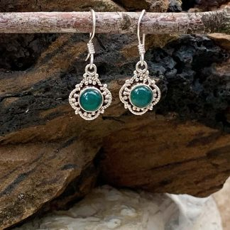 Sterling & Green Onyx Earrings