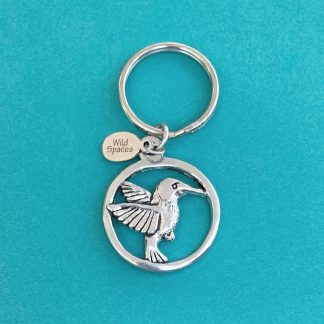 Flying Hummingbird Pewter Keychain