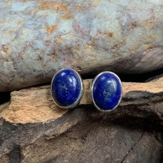 Lapis Sterling Oval Earrings