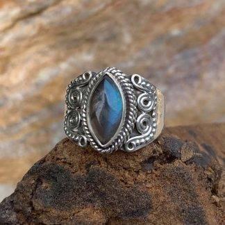 Labradorite Marquise Sterling Ring